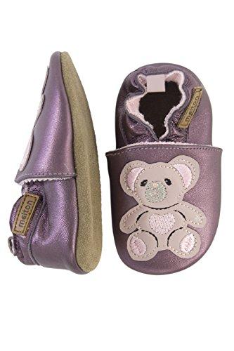 Melton Baby Mädchen Leder-Krabbelschuhe Teddybär Violett (Fig782) 4RJplU7Bg