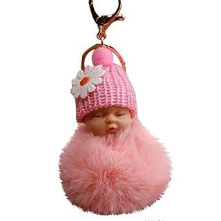 Gaddrt 8cm Pompom Cute Fur Fluffy Sleeping Baby Doll Key Chains Keyrings Bags Charm Pendant Pink