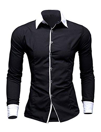 YCHENG Elegante Camicia Uomo Pulsante Manica Lunga con Dettagli a Contrasto Casual Formal Nero