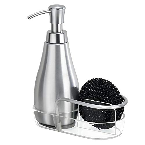 mDesign Dispensador de jabón líquido - Capacidad de 237 ml - Dispensador de Gel en Aluminio - El Ideal dispensador de jabón en Color Plateado