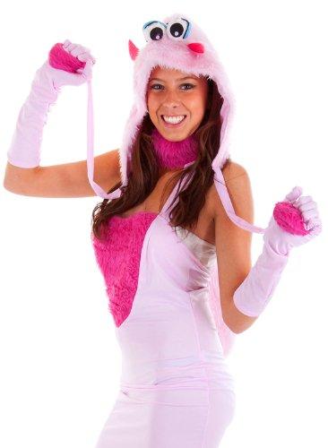 Monster Gogo Kostüm (erdbeerloft - Mädchen Karneval Kostüm- Monster Phantasie Plüsch Fellkostüm Kapuze, Stuplen, rosa pink,)