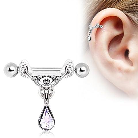 Clear Crystal Tear Drop Dangle Celtic Floral Tiara Ear Cuff 1.2mm x 12mm Surgical Steel Cartilage Earring Upper Ear Bar Barbell