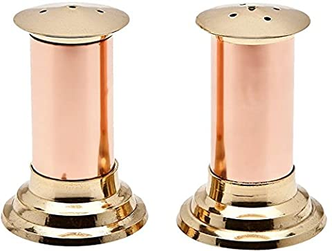 RoyaltyRoute Traditional Indian Copper and Brass Salt and Pepper Shakers