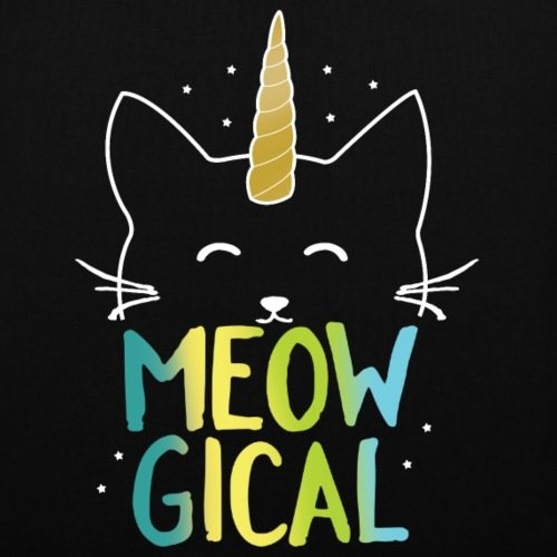 Spreadshirt Meowgical Magica Cat Unicorn Borsa In Tessuto Nero