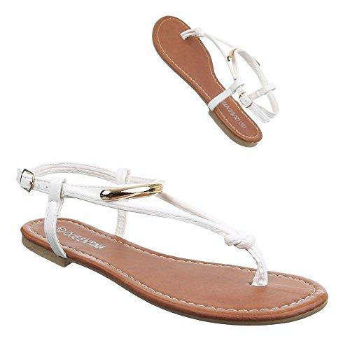 Ital-Design Damen Schuhe, B25L-SF, Sandalen Zehentrenner Weiß