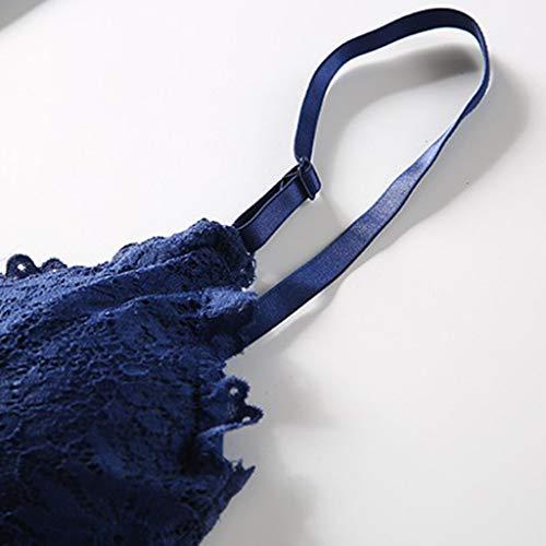 sharprepublic Damen Spitze Bralette BH Bustier Soft Lace Top, Atmungsaktiv - Dunkelblau, Einheite Größe - 8