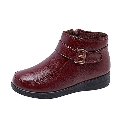 LuckyGirls Botas Felpa Vintage Zapatos Calzado Zapatillas para Mujer Moda Botina con Hebilla