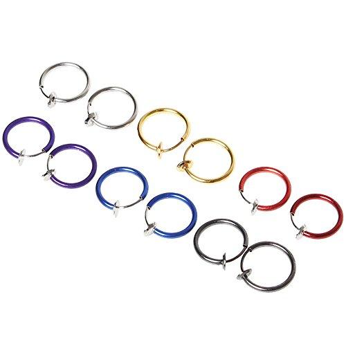 Sicai 12 piezas Fake Earrings Hoop