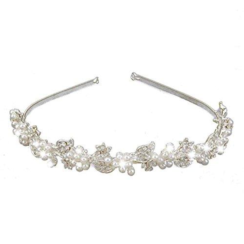 Stirnband - SODIAL(R)Braut Hochzeit Kristall Strass Perle Blumen Stirnband Haar Band Tiara
