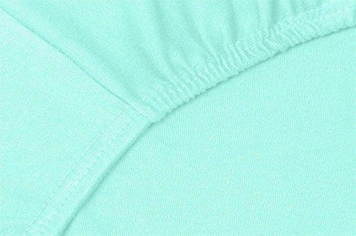 Double Jersey - Spannbettlaken 100% Baumwolle Jersey-Stretch bettlaken, Ultra Weich und Bügelfrei mit bis zu 30cm Stehghöhe, 160x200x30 Aqua - 5