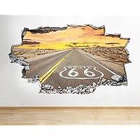 Ruta 66americano Road rompió los Vinilo de pared Póster de habitación para pared 3d pegatinas para niños dormitorio guardería, Cool sala de estar salón niños niñas (tamaño mediano (52x 30cm))