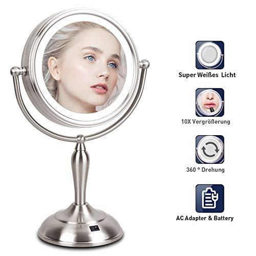 Kosmetikspiegel mit LED Licht - 10X Vergrößerung Beweglich Rasierspiegel, 360°Schwenkbar Badspiegel mit Batterie&Kabel, 37 CM Höhe, Doppelseitig Rostfrei Perfekt für Kosmetik Rasur Bad Zuhause - Doppelseitige, Beleuchtete Make-up-spiegel