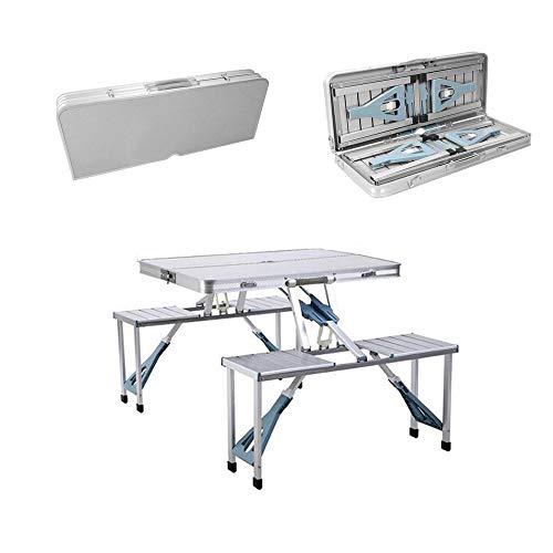 Tragbarer faltender Picknicktisch , Version Aluminium faltender Picknicktisch mit 4 Sitzen , Tragbarer Campingtisch Spieltisch Faltbarer Schrumpftisch und Stuhl , Reise Stühle , Für Patio / Outdoor Ya -