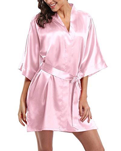 RUNYA Damen Satin Morgenmäntel Robe Kurzer Kimono Silk Bademäntel Nachtwäsche Negligee, 2-rosa, M (Damen Silk Robe)