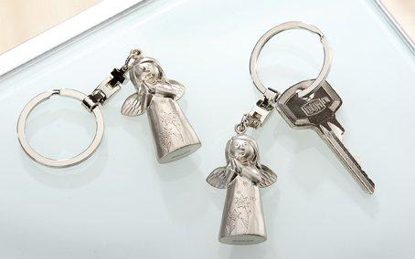 "GILDE - Schlüsselanhänger aus Metall - Schutzengel "" MUTMACHER "" - T=1,5cm / B=2,5cm / H=10,5cm"