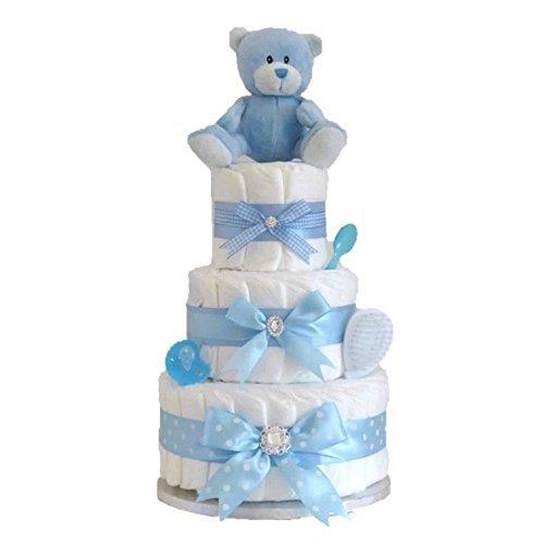 Signature Grande Deluxe à trois étages bébé garçon à couches gâteau/bleu Couche gâteau/panier de bébé Cadeau de Baby Shower/New arrivée Cadeau/envoi rapide