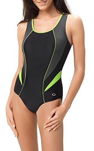 Gwinner Damen Badeanzug- Geeignet Für Freizeit Und Sport - Ideale Passform - Beständig Gegen UV Und Chlor -Made In EU #Ivana, Schw/Gr/Grün, 42 (Badeanzug Grüne Damen)