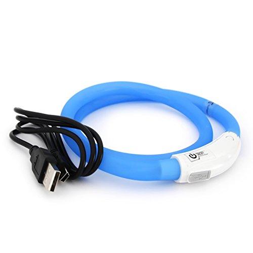 LED USB Halsband Silikon Hundehalsband Leuchthalsband für Hunde Haustier Katzen aufladbar per USB (Größe S-L auf 18-65 cm individuell kürzbar) in blau von der Marke PRECORN