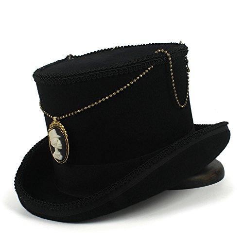 XHD-Sombreros Mujeres de lana Top Steampunk Top Hat Top 15CM Black Fedora  Hat Moda 0887044b212