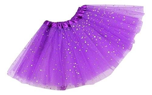 L & L Damen Kinder funkelnd Paillette Ballett Tutu Party Kostüm Tanz Halloween Röcke - Lila, (Baby Kostüm Halloween Rock Star)