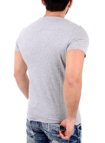 Reslad T-Shirt Herren ROYAL CHIC Motiv Print Kurzarm Shirt RS-2061 Grau