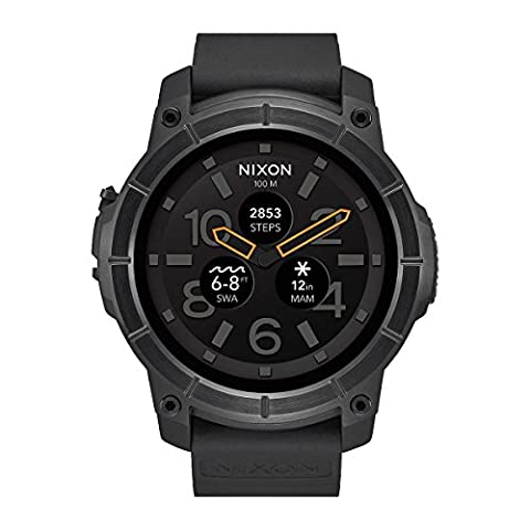 Nixon Men's Quartz Smartwatch with Black Dial Analogue/Digital Display and Black Silicone Strap