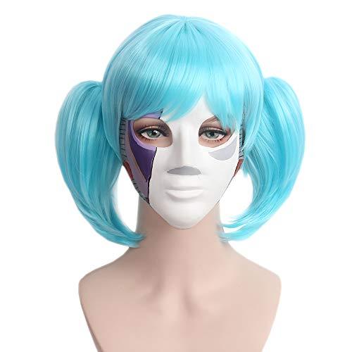 STfantasy Sally Face Cosplay Blau Zwei Pferdeschwanz Perücken mit Pony Kurze Kostüm Perücke für Halloween Party Anime