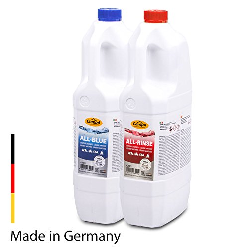 Camp4 Sanitärflüssigkeit Toilettenchemie Set für Chemietoiletten, Abwasser und Spülbehälter 2X 2 Liter, für Wohnmobil und Wohnwagen