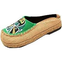 Zapatillas de Ocio Zapatos de Tela de Plataforma Cabeza Redonda Plana de Lino Mujer Ocio Pescador Unisex Planas Verano Camper Chanclas