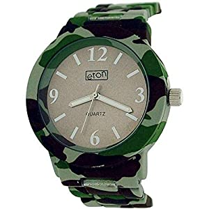Eton Grey Dial Camouflage Print Rubberised Metal Bracelet Strap Watch 3175J