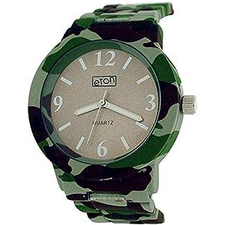 Eton Grey Dial Camouflage Print Rubberised Metal Bracelet Strap Watch 3175J
