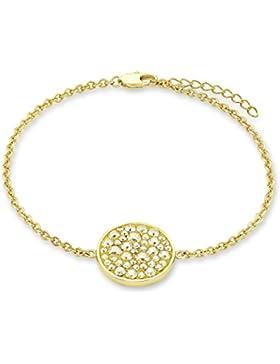 Noelani Damen-Armband gelbvergoldet veredelt mit Swarovski Kristallen, 17+3 cm längenverstellbar