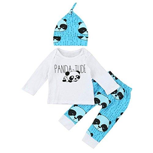 Mädchen Jungen Kleidung Set Kolylong® 1 Set ( 3-24 Monate ) Herbst Baby Mädchen Panda gedruckt gedruckt Outfit T-Shirt + Hosen lange Anzüge (60CM (0-3 Monate), (Anzug Baby Panda)