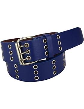 Cinturón de cuero auténtico con remache para hombre y mujer, color negro, blanco y marrón, hasta 135 cm, XXL bleu...