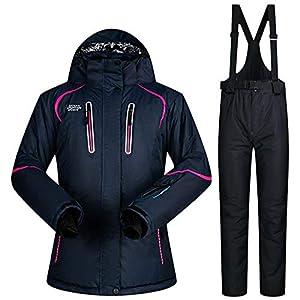 Zjsjacket Skianzug Weibliche Skianzüge Schneejacke und -Hosen Damen Baumwollgefüllte Snowboard SkianzügeWaterproof Breathable Thermal