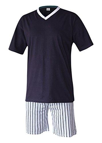 Herren Schlafanzug kurz Herren Pyjama kurz Herren Shorty Schlafanzug aus 100% Baumwolle (XXL/58-60, oberteil rauch blau/hose gestreift) -