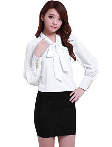 Allegra K Allegra K Damen krawatt schleife Ausschnitt puffknüpft meschette Chiffon Bluse Shirt Hemd Weiß