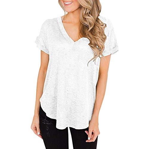 Frauen Simple Plain Bluse Tunika V-Ausschnitt Kurzarm Lose Casual Top Shirts