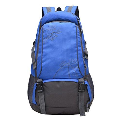 Yy.f Wasserdichte Verschleiß-resistente Nylon Outdoor Herren Schultertasche Reisetasche Groß-Kapazität Bergsteigen Tasche Mode Sport Rucksack Computer Rucksack. Mehrfarbig Blue
