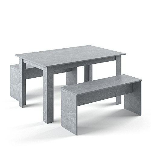 VICCO Tischgruppe 140 x 90 cm - 4 Personen - Esszimmer Esstisch Küche Sitzgruppe Tisch Bank - Bänke flexibel verstaubar (Beton) (Beton Tisch)