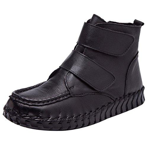 Vogstyle Damen Vintage Handgefertigte Lederstiefel Flach Stiefel Art 1 Schwarz