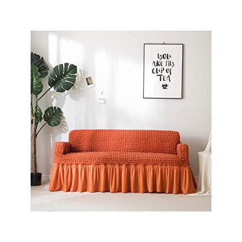 N/A Schonbezug Popcorn Plaid Sofabezug Tight Wrap All Inclusive Elasticr Mit Rock Sessel- / Möbelbezüge Orange Viersitziges Sofa -