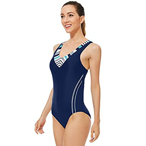 Mufly Womens One Piece Swimsuit Sport Swimming Costume Training Swimwear Athletic Bathing Suit Sports Bikini S Blue with Chest Pads for Racing Water Sports