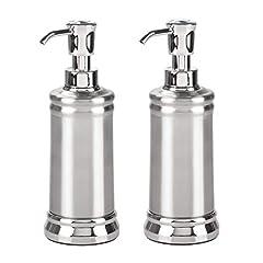 Idea Regalo - mDesign Set da 2 Dispenser per sapone liquido – Portasapone liquido in metallo e plastica – Elegante erogatore di sapone per circa 237 ml di prodotto – argento