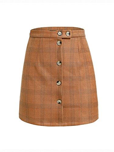 Terryfy Damen Minirock Elegant Kurz Kariert High Waist Sommer Rock Skirt Streetwear Braun