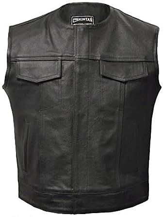 Leather Waistcoat in Black by Skintan - Opie (4XL)