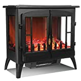 LIVIVO Log Effect Electric Stove Heater Fire, 2000W, Independent Light and Heat Controls, Automatic Safety Cut-Out, Wide Panoramic Viewing Angle