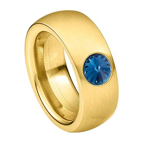 Heideman Ring Damen Coma 8 aus Edelstahl Gold farbend matt Damenring für Frauen mit Swarovski Stein Kristall Montana blau im Fantasie Edelsteinschliff 6mm