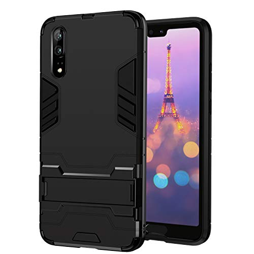 seacosmo Huawei P20 Hülle, Rugged Bumper Huawei P20 Case Stoßfest Silikon + Hard PC Outdoor Handyhülle mit Ständer für Huawei P20, Schwarz Rugged Phone Case