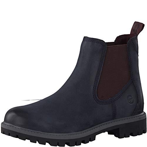 Tamaris Damen Stiefeletten 25401-23, Frauen Chelsea Boots, Bootie Schlupfstiefel flach weibliche Lady Ladies,Navy/Bordeaux,40 EU / 6.5 UK